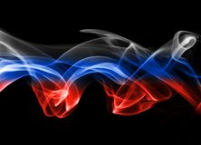 Russia flag smoke. Isolated on a black background Stock Photography