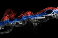 Russia flag smoke. Isolated on a black background Stock Image