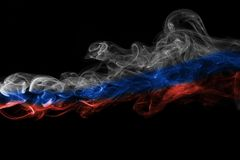 Russia flag smoke. Isolated on a black background Royalty Free Stock Images