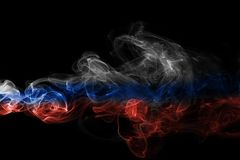 Russia flag smoke. Isolated on a black background Royalty Free Stock Photo