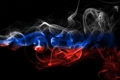 Russia flag smoke. Isolated on a black background Royalty Free Stock Photography