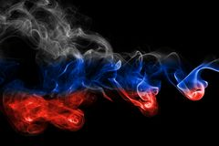 Russia flag smoke. Isolated on a black background Stock Photo