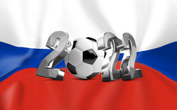2022 russia flag and soccer ball Stock Photos