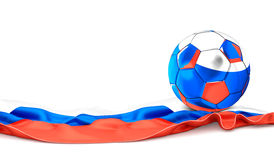 Russia flag and soccer football ball. 3d rendering Royalty Free Stock Image