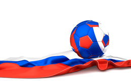 Russia flag and soccer football ball. 3d rendering Stock Images