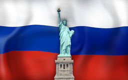 Russia Flag and USA Statue of Liberty Stock Images