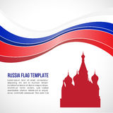 Russia flag wave and Saint Basil's Cathedral symbols Royalty Free Stock Image