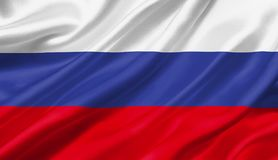 Russia flag waving with the wind, 3D illustration. 3D rendering Stock Images