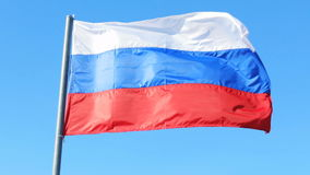 Russia flag wind sky patriotism nation. Russian Federation stock video footage
