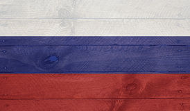 Russia flag on wood boards with nails Stock Photography