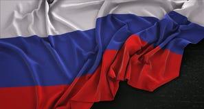 Russia Flag Wrinkled On Dark Background 3D Render. Digital Art Royalty Free Stock Image