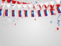 Russia flags Celebration background with confetti and red and blue ribbons. Russia flags Celebration background template with confetti and red and blue ribbons Stock Images