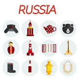 Russia flat icon set Stock Images
