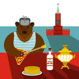 Russia flat stereotype. Russia stereotype concept in flat style for any design Stock Image
