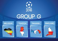Russia football final round group g in map icon flag color. Russia football final round group in map icon flag color,gradient design Stock Photo