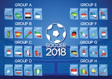 Russia football final round group in map icon flag color. Russia football final round group h in map icon flag color gradient design Royalty Free Stock Image