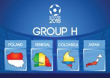 Russia football final round group h in map icon flag color. Gradient design Royalty Free Stock Photo