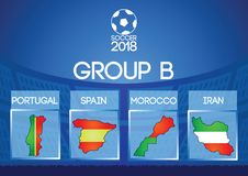 Russia football final round group in map icon flag color. Gradient design Stock Images