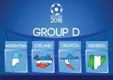 Russia football final round group in map icon flag color. Gradient design Royalty Free Stock Photography