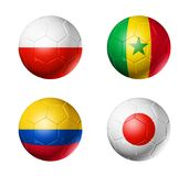 Russia football 2018 group H flags on soccer balls royalty free illustration