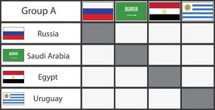 Russia 2018 football group stage template. Group A,flat vector illustration Royalty Free Stock Image