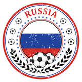 Russia football label / sticker. Russia soccer elegant  Printable icon / button / label with soccer ball with national flag. Print colors CMYK colors used Stock Images