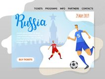 Russia and football. Players on historic background. Copyspace. Design template of website, poster, print media. Vector. Russia and football. Players on Moscow Royalty Free Stock Images