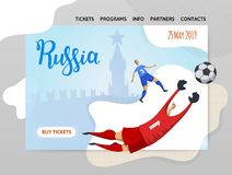 Russia and football. Players on historic background. Copyspace. Design template of website, poster, print media. Vector. Russia and football. Players on Moscow Royalty Free Stock Photography