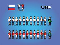 Russia football team player uniform pixel art game illustration. Russia football team soccer player uniform pixel art game illustration vector illustration
