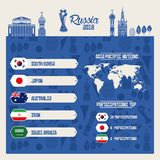 Russia football teams group. Blue background vector illustration graphic design Royalty Free Stock Photography