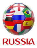 Russia Football Teams. Russia football with participating national teams flags in world tournamemt. Clipping path included for easy selection Royalty Free Stock Photos