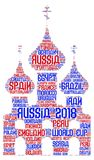 Russia Football World Cup 2018. Word cloud word art in shape of russian churches and in red and blue type of white background in russian style font. Names of Royalty Free Stock Photo