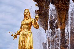 Russia. Fountain of Friendship of Peoples at the Exhibition of Economic Achievements in Moscow. 21 June 2016. Russia. Moscow. Fountain of Friendship of Peoples Royalty Free Stock Photo