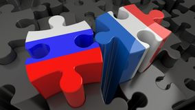 Russia and France flags on puzzle pieces. Political relationship concept. 3D rendering Stock Photos
