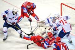 Russia and France ice hockey team Stock Photos