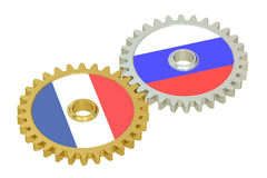 Russia and France relations concept, flags on a gears. 3D render Royalty Free Stock Photography