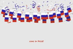 Russia garland flag with confetti on gray background, Hang bunting for Russia celebration template banner. Vector illustration Stock Images