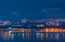 Russia Gelendzhik Bay of the city night lights 2018 May stock images