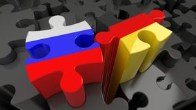 Russia and Germany flags on puzzle pieces. Political relationship concept. 3D rendering Royalty Free Stock Photos