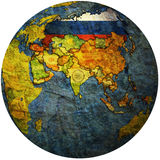 Russia on globe map Royalty Free Stock Photo