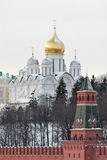 Russia. Gold domes of Moscow Kremlin at winter. Russia. Gold domes of Moscow Kremlin. Winter postcard Royalty Free Stock Image