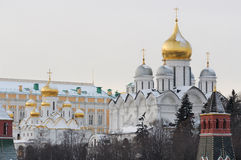 Russia. Gold domes of Moscow Kremlin at winter. Russia. Gold domes of Moscow Kremlin. Winter postcard stock images