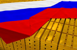 Russia gold reserve stock. (creative concept): golden bars (ingots, bullions) are covered with russian flag in the storage (treasury) as symbol of national gold Royalty Free Stock Photos