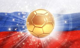Russia 2018. Gold soccer ball shining on the Russian flag. 2018 international soccer event. 3D illustration Royalty Free Stock Photos
