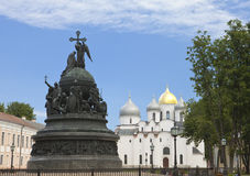 Russia, Great Novgorod. Monument Millennium of Russia and Sofia cathedral Stock Images