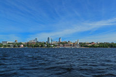 Russia, great river Volga vast spaces with skyline. View from the great russian river Volga to the skyline with vast spaces in foreground in summer sunny day Royalty Free Stock Photo