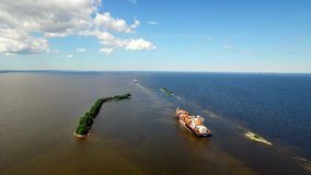 RUSSIA GULF OF FINLAND- 12 JUNE 2016: aerial view of ships sailing along the Islands in place of the connection fresh stock footage