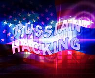 Russia Hacking American Elections Data 2d Illustration. Shows Kremlin Spy Hackers On Internet Attack Usa Election Security Or Cybersecurity vector illustration