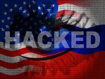 Russia Hacking American Elections Data 2d Illustration. Shows Kremlin Spy Hackers On Internet Attack Usa Election Security Or Cybersecurity stock illustration