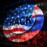 Russia Hacking American Elections Data 3d Illustration. Shows Kremlin Spy Hackers On Internet Attack Usa Election Security Or Cybersecurity royalty free illustration